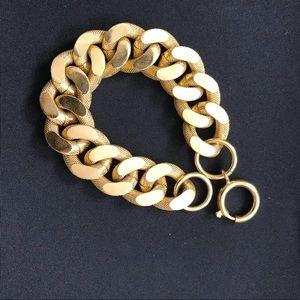 Jewelry - Chunky gold flat link bracelet 1980's